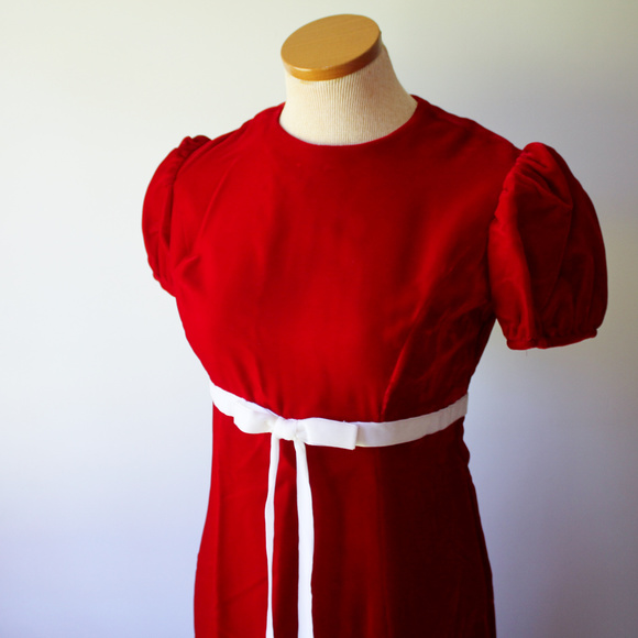 Christmas Red Short Sleeve Long dress homemade